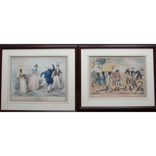 44 - A collection of six framed political and satirical coloured engravings, Pub. Samuel Fores and others...