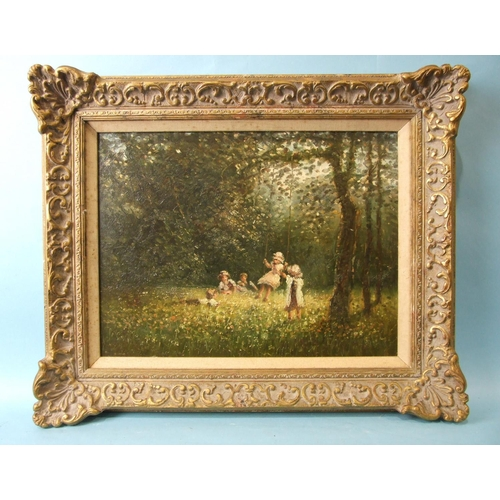 5 - 20th century English School CHILDREN PLAYING ON A WOODLAND SWING Unsigned oil on board, 29 x 40cm....
