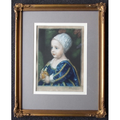 53 - A coloured engraving of a young girl holding an orange, signed in pencil Y G Stevenson, 25.5 x 18cm,...