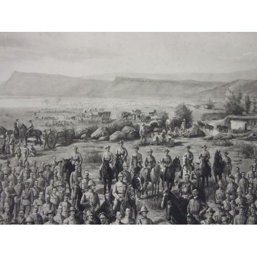 55 - Dickenson, 'Boer War, British Army Officers, Men and Baggage Train', a monochrome print, JAS blind s...