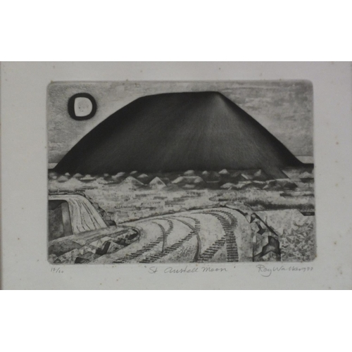 57 - Roy Walker (1936-2001) 'St Austell Moon', a limited-edition signed etching, dated 1977, 10/60, 32 x ...