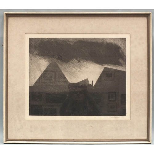 59 - Gareth Davies (b.1937) 'Coal mining landscape', a signed etching, 45 x 54.5cm, signed in pencil on m...