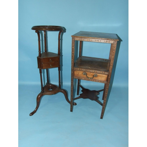 66 - A Chippendale-style three-tier night table with overall blind fret decoration, having a central draw...