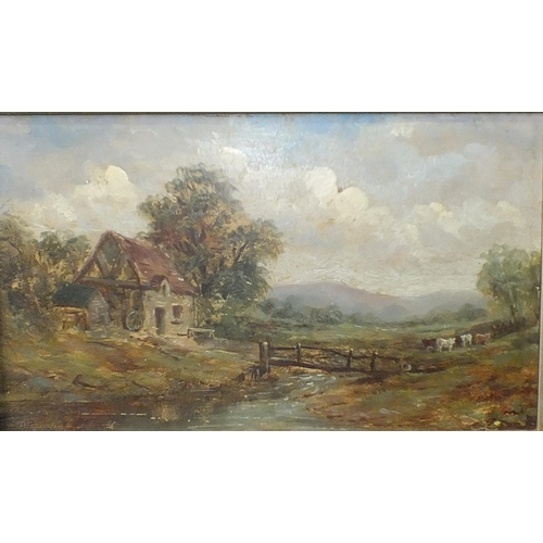 8 - 19th century English School CATTLE AND COTTAGE IN PASTORAL LANDSCAPE Unsigned oil on board, 15.5 x 2...