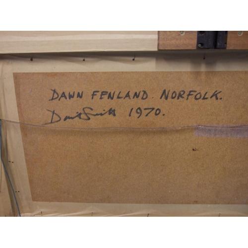 9 - David Smith (20th century)DAWN, FENLAND, NORFOLK Unsigned oil painting on hardboard, titled, inscri...
