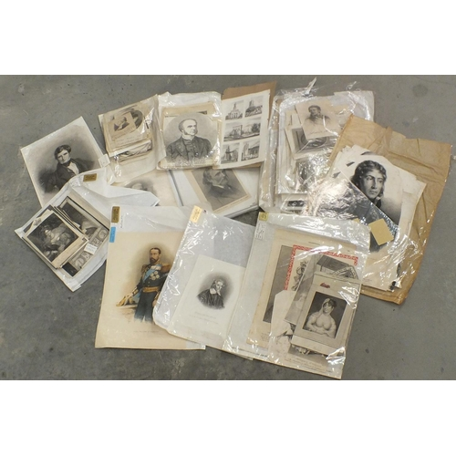 48 - A large collection of 18th and 19th century unframed portrait engravings and book plates....