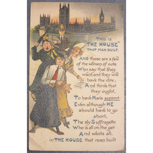 """Suffragette interest, """"This is THE House that man built"""", anti-votes for women postcard showing women in front of the Houses of Parliament, postmarked Aug 25, 1909."""