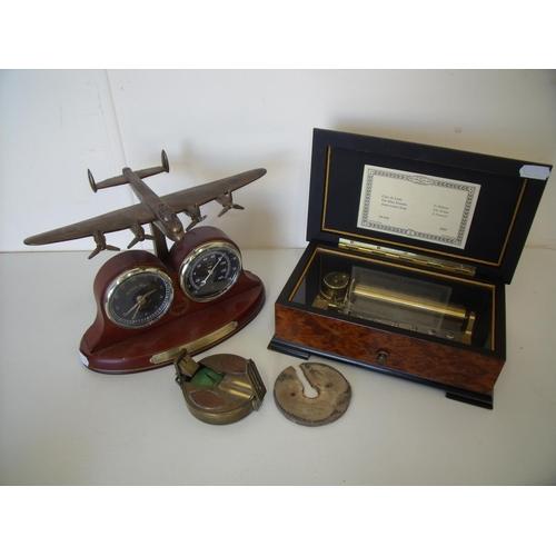 41 - Commemorative 70th Anniversary of Avro Lancaster Active Service 1942 clock & barometer desk set, a r...