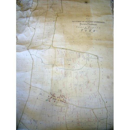 244 - Large white painted metal map case containing various maps and scale plans including township of Cox...