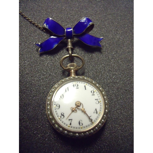 6b0931cd0 25 - Early 20th C ladies silver and enamel fob watch with blue enamel brooch  hanging