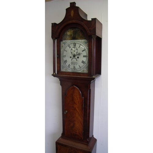 254 - Mahogany cased 8 day long case clock by J Jefferson Driffield with painted dial with secondary and d...