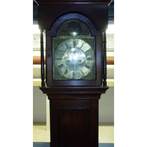 170 - Oak cased 8 day brass faced long case clock by W Clarke Morpeth No 57, with secondary dials and flat...