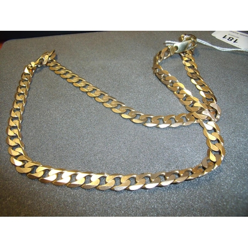 181 - 9ct golf heavy curb link chain necklace (66grams), total length 64cm...