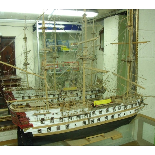 29 - Scale model of a French Napoleonic era naval ship 'Le Superbe' (overall length 84cm)...