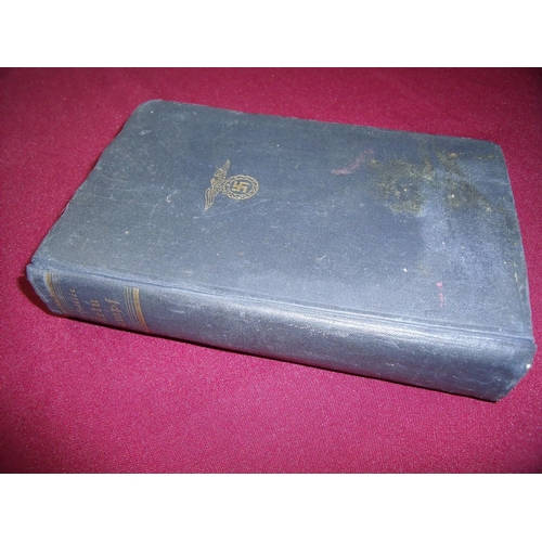 10 - Adolf Hitler Mein Kampf 1938 edition with various associated stamps to the inside cover and title pa...