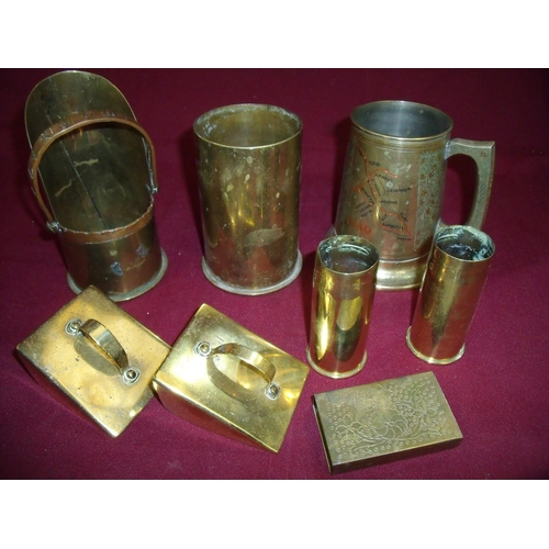 43 - Selection of various assorted trench art including tankards, shell casings etc including German 1904...