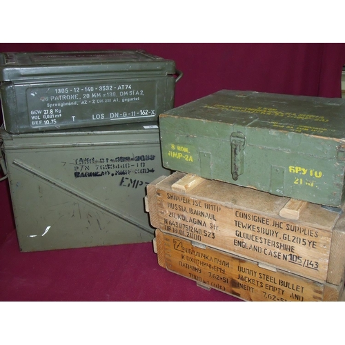 44 - Collection of various ammo & munition wooden & tin casings including British and foreign issue mine ...