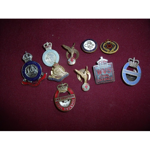 45 - Small selection of various mostly military and civil enamel and other lapel badges including Royal O...