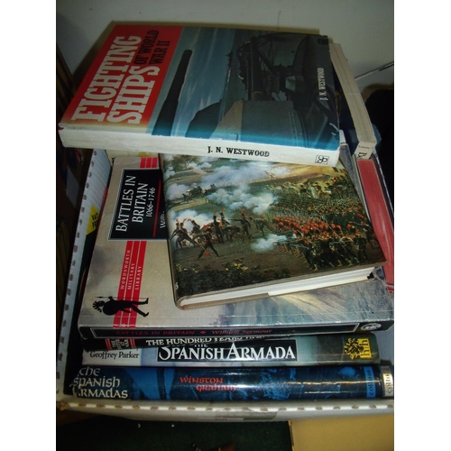 60 - Large selection of mostly hardback military related books (1 box)...
