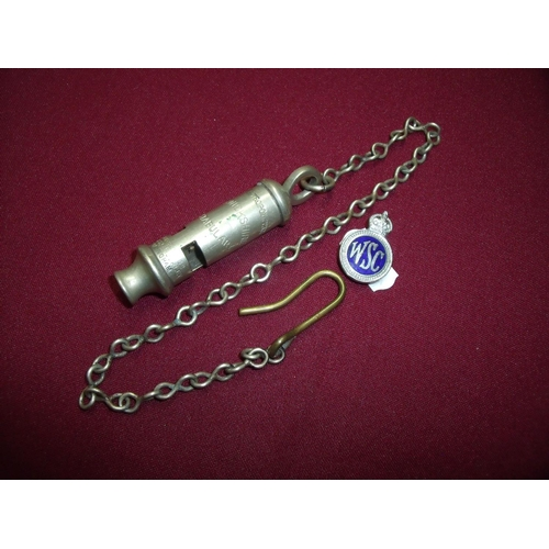 8 - Metropolitan Warwickshire constabulary whistle and chain with hook stamped J Hudson & Co Barr ST Hoc...