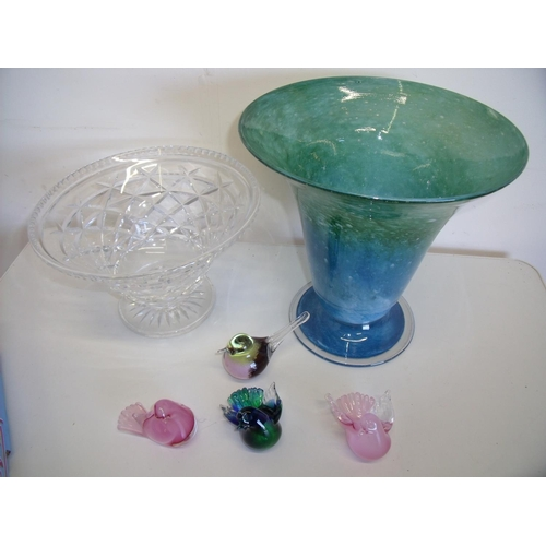 195 - Cut crystal pedestal bowl, modern coloured glass vase and four coloured glass bird sculptures...