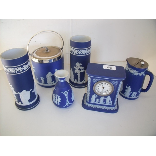 242 - Collection of Wedgwood ceramics including a Wedgewood blue Jasperware ceramics including mantel cloc...