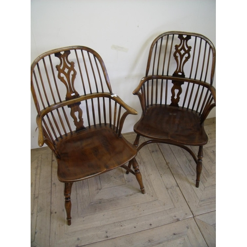 330 - Pair of quality reproduction elm Windsor stick back armchairs with crinoline under stretcher and tur...