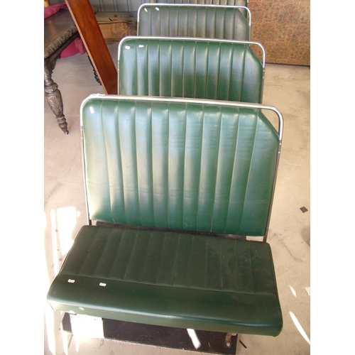 460 - Set of four mounted vintage bus/coach type bench seats...
