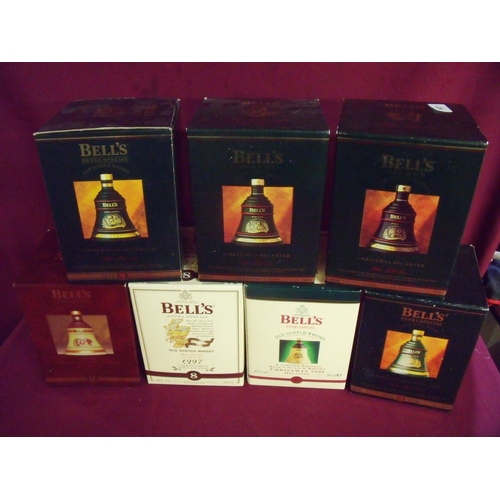 48 - Group of seven boxed Bells Whisky Christmas decanter sets (full & sealed) including 1992, 1993, 1994...