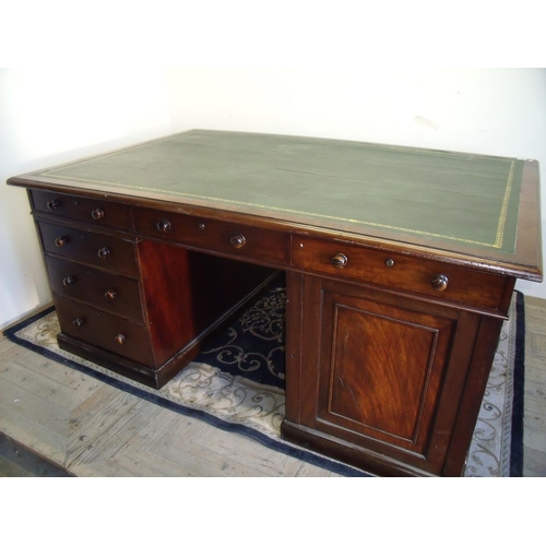 370 - 19th C mahogany twin pedestal partners desk, each pedestal with three drawers and single panelled cu...