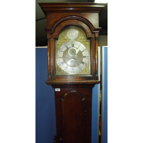 297 - Oak cased 30 hour long case clock by G Kidd of Malton with brass and steel dial, with secondary and ...