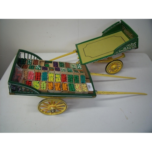 8 - Two large handmade wooden carts one with the name A M Medcalfes Fruit & Veg Pickering and the other ...