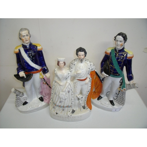 2 - Three Victorian Staffordshire style figures including Napier, King & Queen of Sardinia etc (approx. ...