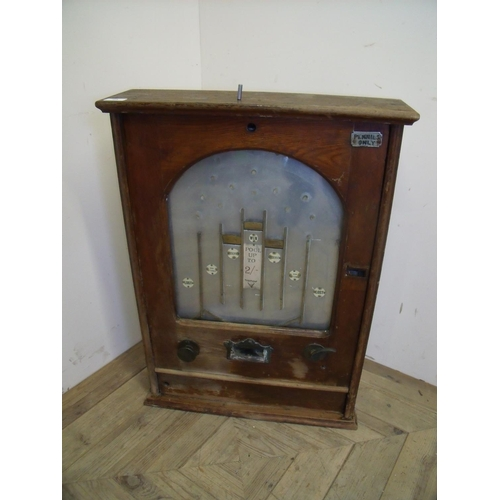 24 - Vintage wooden cased penny slot machine (55cm x 76cm x 16.5cm)...