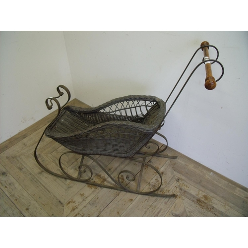 25 - Early-mid 20th C miniature metal framed sleigh with wicker work basket and turned wood handle (85cm ...