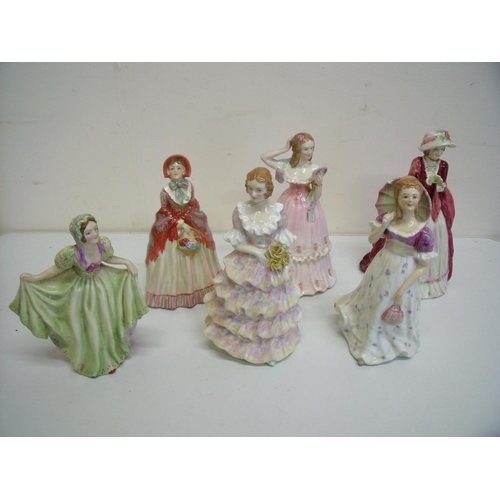 3 - Group of six porcelain ladies, the bases with painted marks Made in England, 'New Gloves', 'Vanity',...