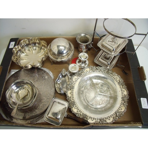 41 - Selection of various silver plated tableware including cake stand, coddler, serving trays etc in one...