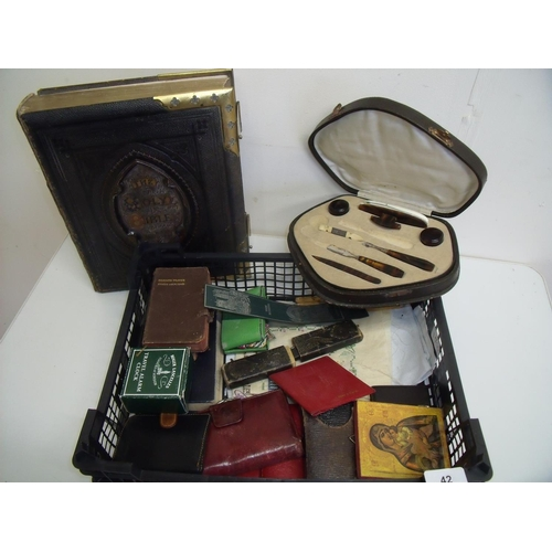 42 - Cased manicure set, a Victorian bible, various other pocket bibles, a travelling sewing kit, cut thr...
