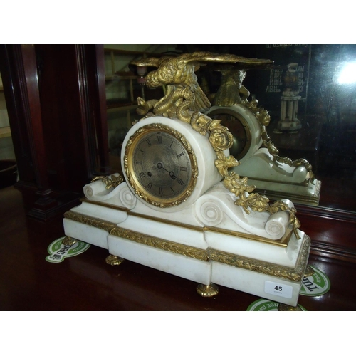 45 - 19th C white marble and gilt metal mantel clock on break front stepped base, crested with gilded fig...