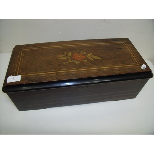 5 - 19th/20th C music box in rosewood inlaid rectangular case with hinged top revealing fitted musical b...