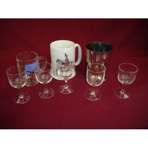 12 - Selection of military related tankards and glassware including five port glasses with RAF crest, sil...