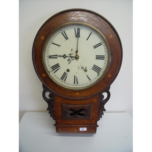 23 - 19th C walnut inlaid drop dial wall clock...