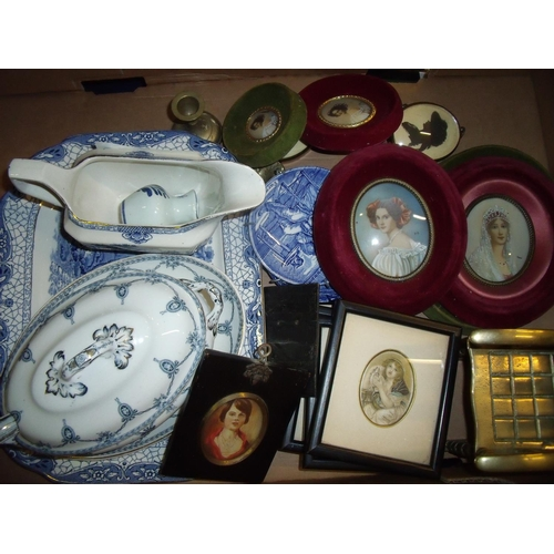 47 - Selection of blue & white and other ceramics, framed silhouette portraits, brass miniature rocking c...