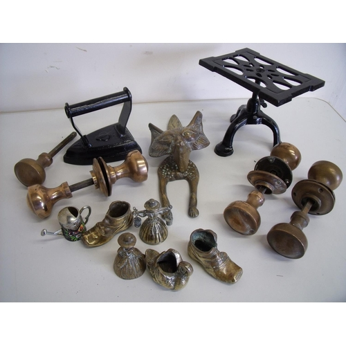 60 - Selection of various brass door handles, adjustable height iron trivet and flat iron, various brass ...