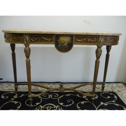 239 - Modern reproduction country house French style walnut D shaped marble top side table with gilt metal...