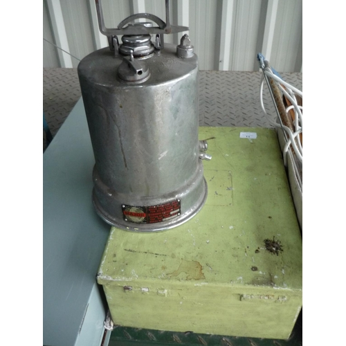 11 - Two electrical type boxes and a pressure container...