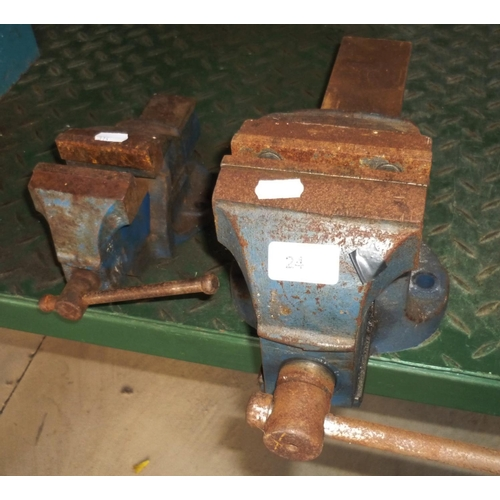 24 - Large and small vice suitable for bench mounting...