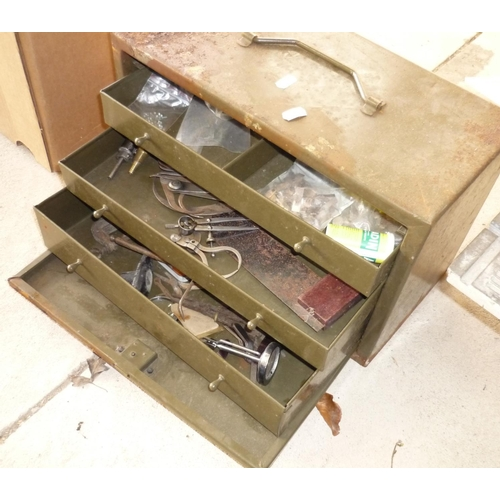 31 - Small metal tool chest with various contents...