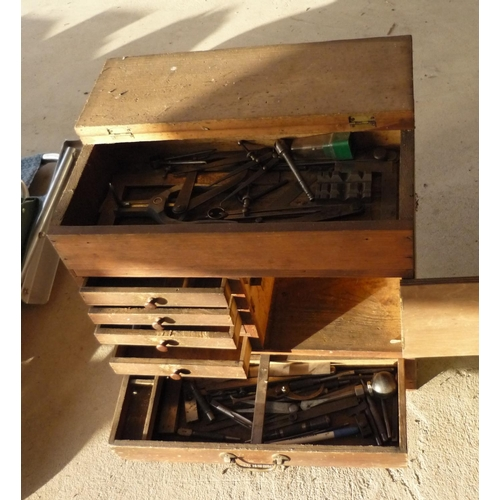 34 - Craftsman made small wooden tool chest with six drawers and a small cupboard door...