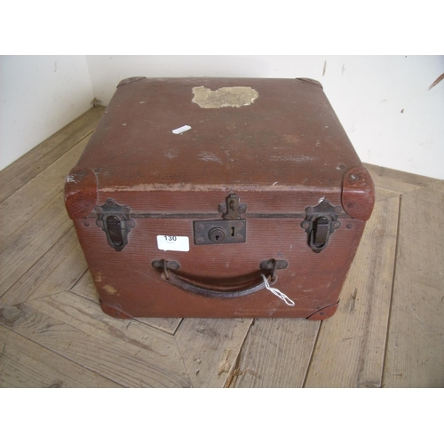 130 - Vintage travel case of square form...